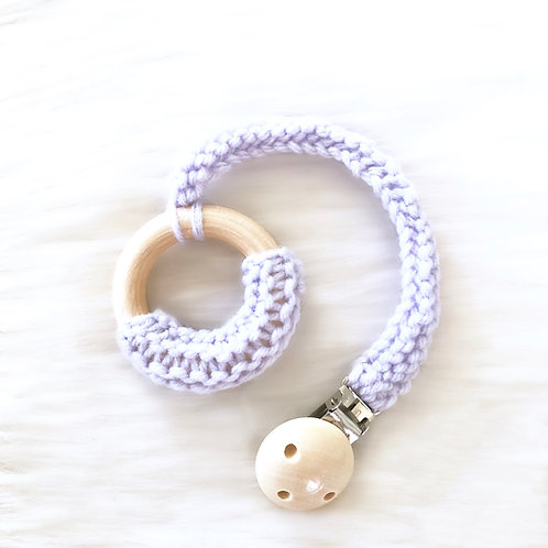 Purple Wooden Teething Ring with Clip