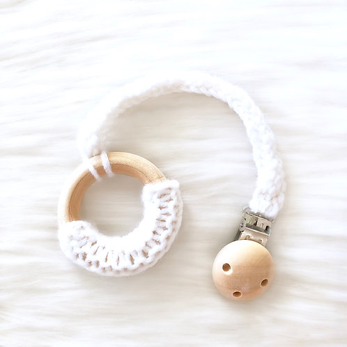 White Wooden Teething Ring with Clip
