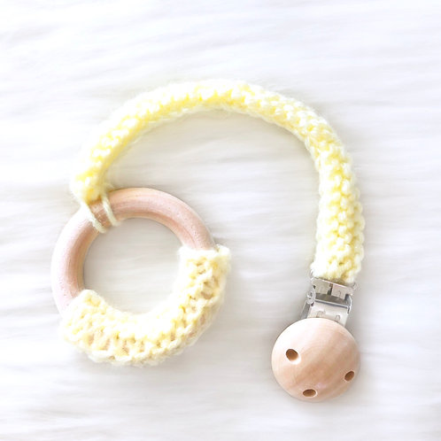 Yellow Wooden Teething Ring with Clip