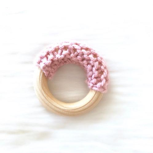 Pink Wooden Teething Ring