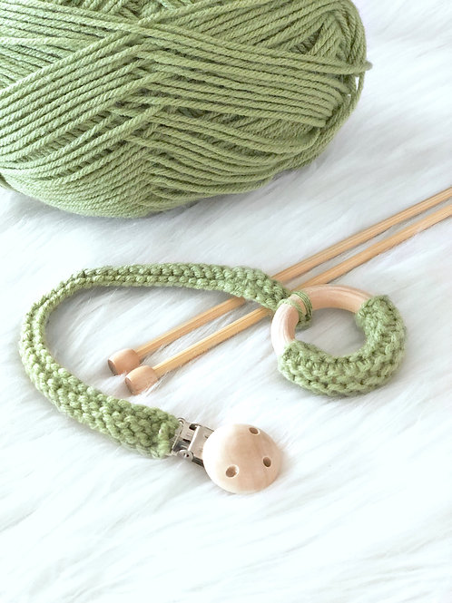 Green Wooden Teething Ring with Clip