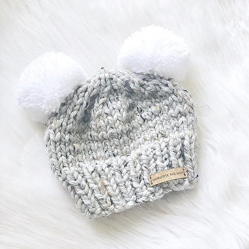 Mixed Grey Beanie with Double Pom
