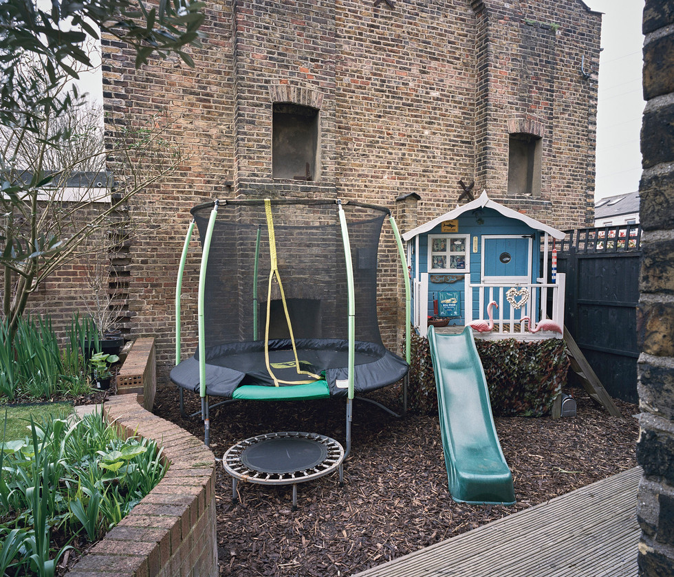 trampoling and playhouse