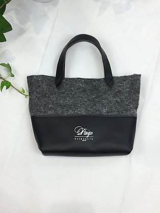 mini half leather wool tote