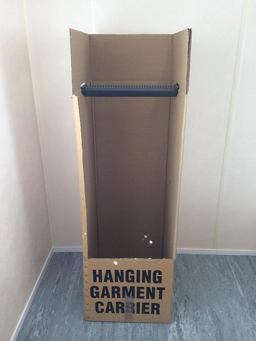Wardrobe box with rail