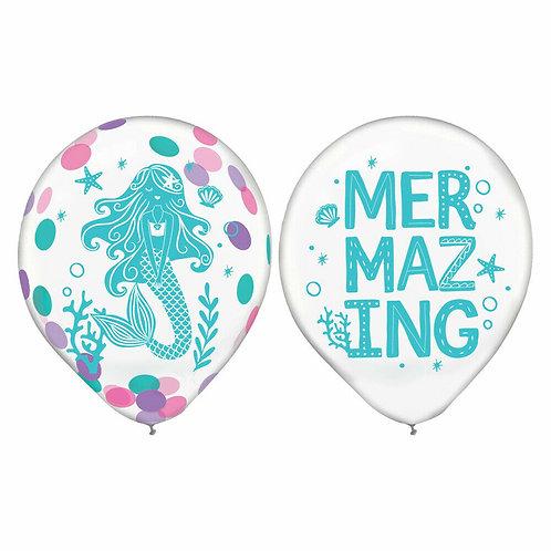 "12"" Mermaid Latex Confetti Balloons"
