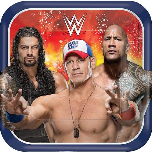 "WWE Wrestling 9"" Square Plates"