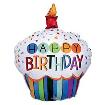 "36"" HBD Rainbow Cupcake Balloon"