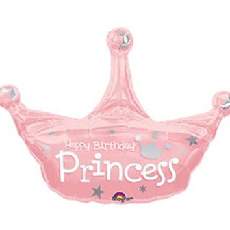 "34""  Pink Princess Crown Balloon"