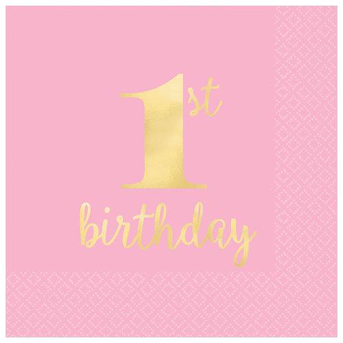 1st Birthday Premium Pink Hot Stamped Luncheon Napkins
