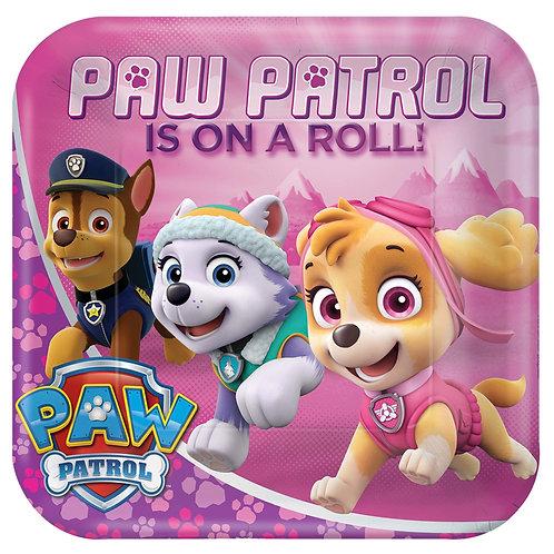 "Paw Patrol (Girl) Square 9"" Plates"