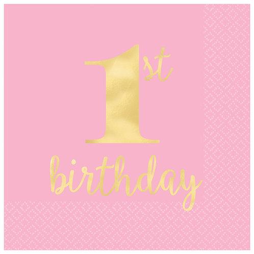 1st Birthday Premium Pink Hot Stamped Beverage Napkins