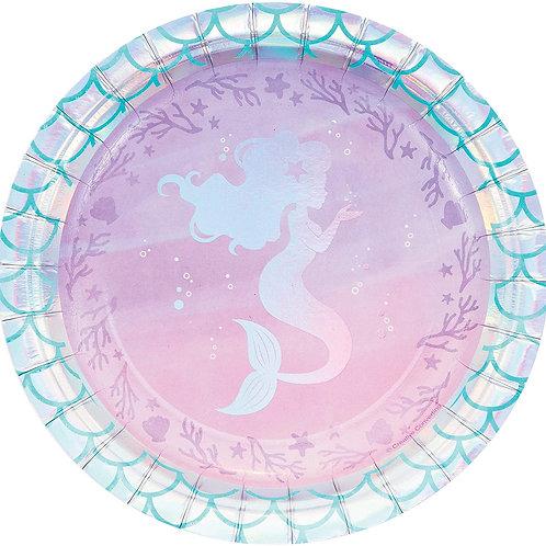 """Mermaid 7"""" Round Plates"""