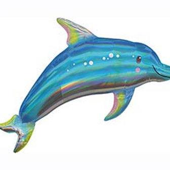 "29"" Blue Dolphin Iridescent/Holographic Balloon"