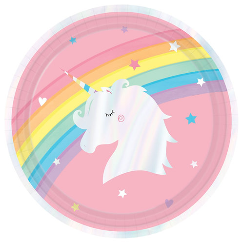 Iridescent Magical Rainbow Unicorn Lunch Plates