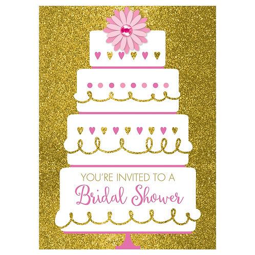 Gold Glitter Wedding Cake Bridal Shower Invitations