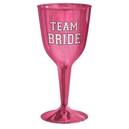 'Team Bride' Plastic Wine Glasses