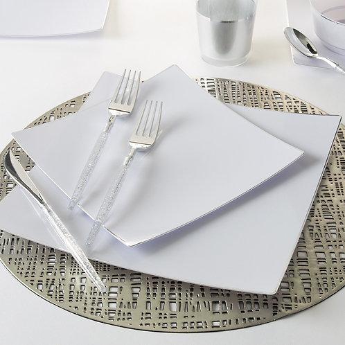 Square Coupe White with Silver Trim Plastic Plates