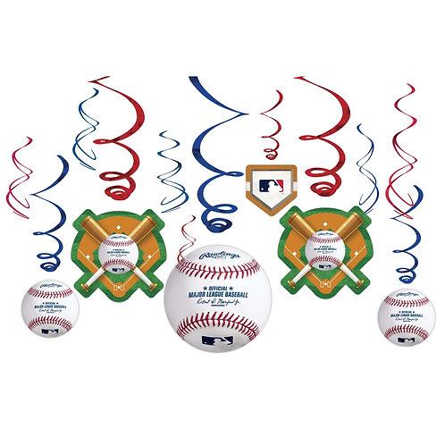 MLB Baseball Swirl Decor