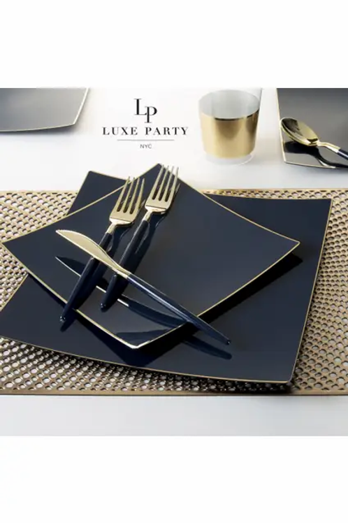 Square Navy with Gold Trim Plastic Plates