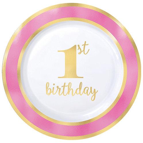 "1st Birthday Premium Pink 10"" Round Plastic Plates"