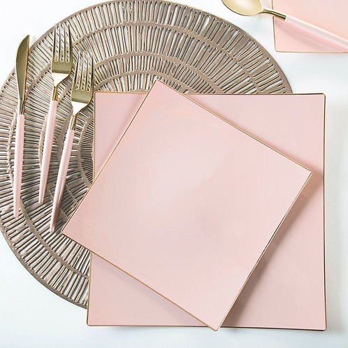 Square Coupe Blush with Gold Trim Plastic Plates