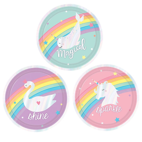 Magical Rainbow Unicorn Iridescent Plates, Assorted