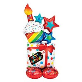 """55"""" Birthday Stacked Airloonz Balloon"""