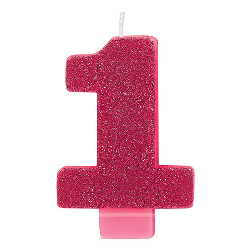 """1st Birthday 2.5"""" Pink Glitter Candle"""