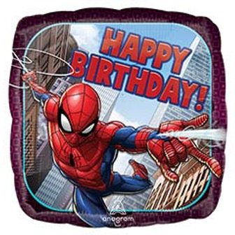 "17"" HBD Spiderman Square Balloon"