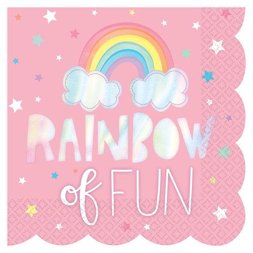 Magical Rainbow Birthday Scalloped Luncheon Napkins