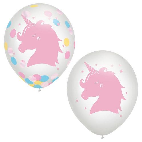 Magical Rainbow Unicorn Latex Confetti Balloon