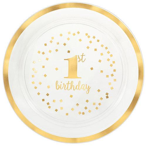 1st Birthday Plastic Round Tray