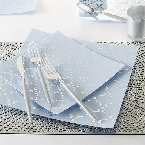 Square Ice Blue Silver Pattern Plastic Plates | 10 Plates