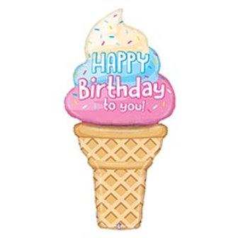 "60"" HBD Ice Cream Cone Balloon"
