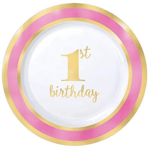 "1st Birthday Premium Pink Round 7.5"" Plastic Plates"