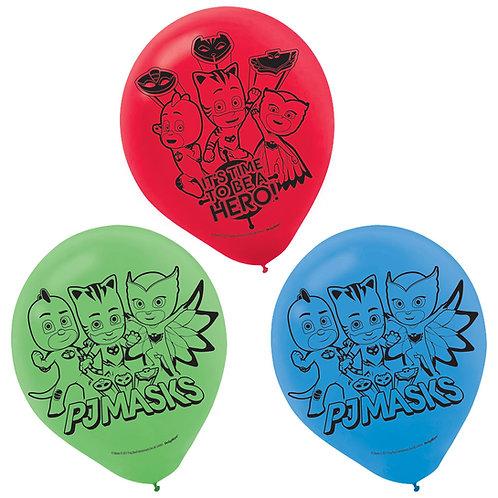 """PJ Masks 12"""" Latex Balloons, 6ct."""