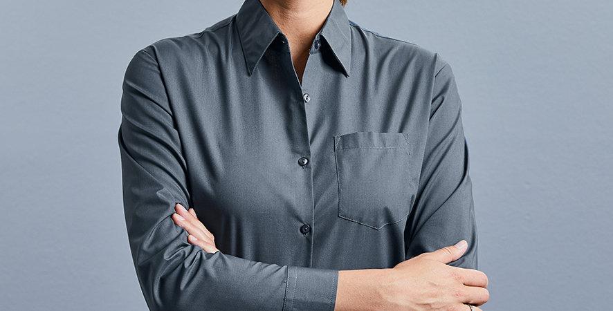 934F Russell Ladies Long Sleeve Easy Care Poplin Shirt main