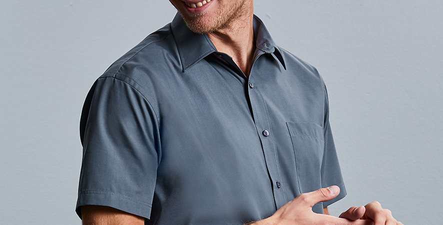 935M Russell Collection Short Sleeve Easy Care Poplin Shirt