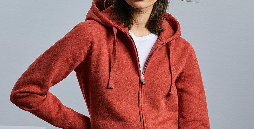 263FRussell Ladies Authentic Melange Zip Hoodie