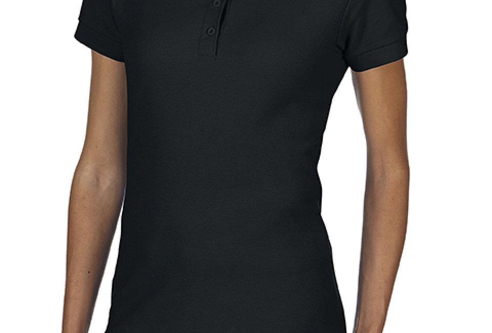 Female Double Pique Polo Shirt black