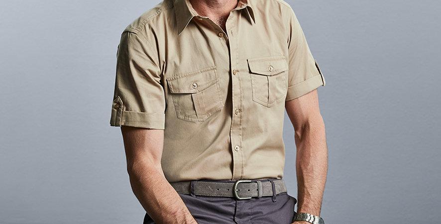 919M Russell Mens Short Sleeve Twill Roll Shirt main image