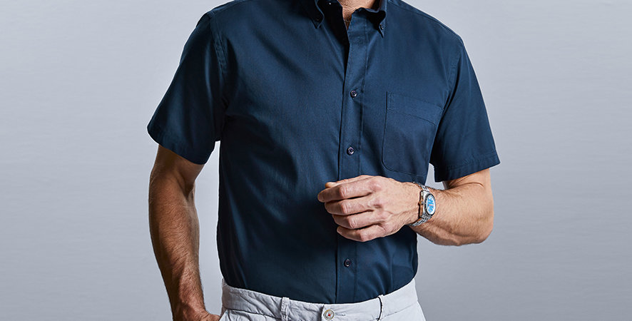 917M Russell Mens Short Sleeve Classic Twill Shirt