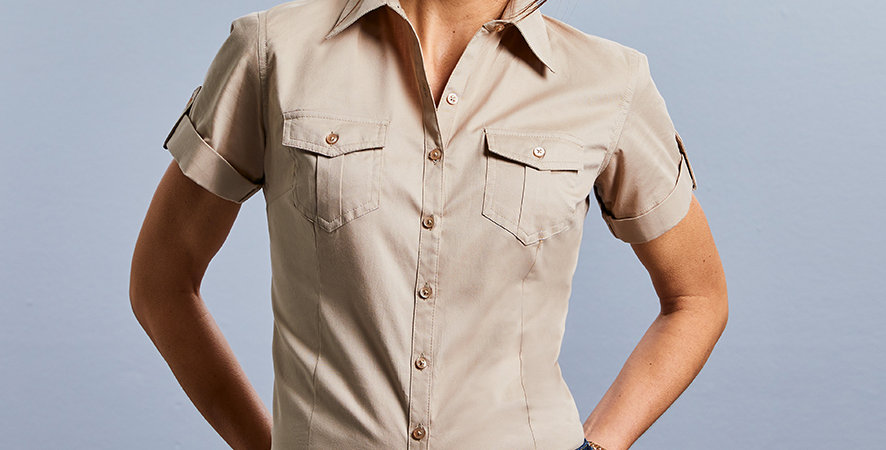919F Russell Ladies Short Sleeve Twill Roll Shirt