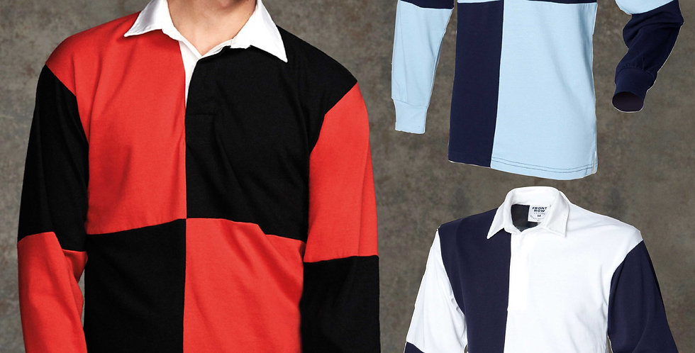 Front Row Long Sleeve Quartered Two Tone Rugby Shirt main image