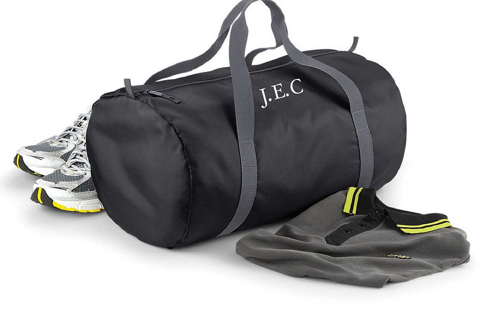 Foldable Ultra Light Barrel Duffel Gym Sport Bag Embroidered black