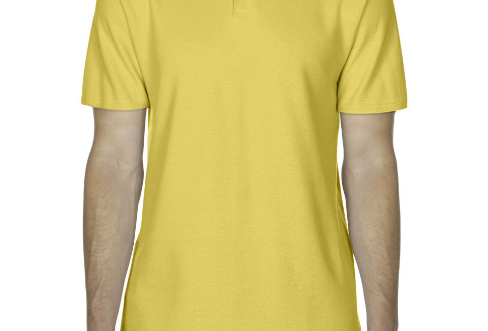 Adult Mens Double Pique Polo Shirt Yellow