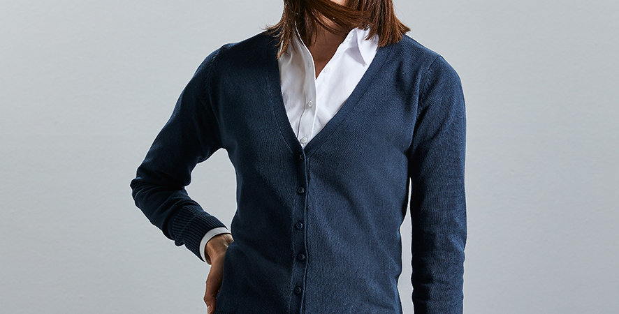 Russell Collection Ladies V Neck Cardigan 715F