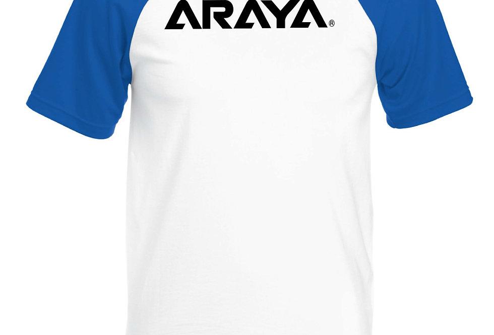 ARAYA Text BMX short sleeve baseball T-Shirt royal