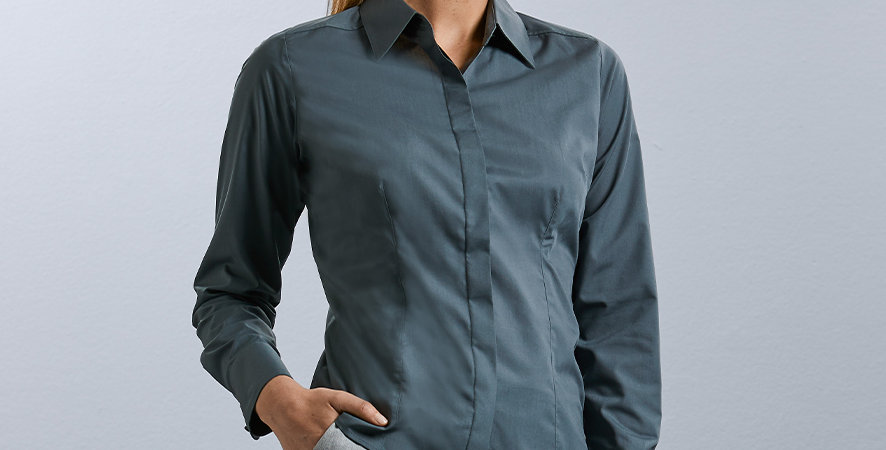 924F Russell Ladies Long Sleeve Fitted Poplin Shirt main image